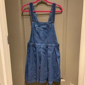 ASOS Denim Pinafore Pleated Dress